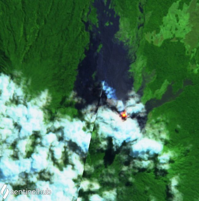 Langila / PNG - image Sentinel-2 L1C bands 12,11,4 from 07.10.2021