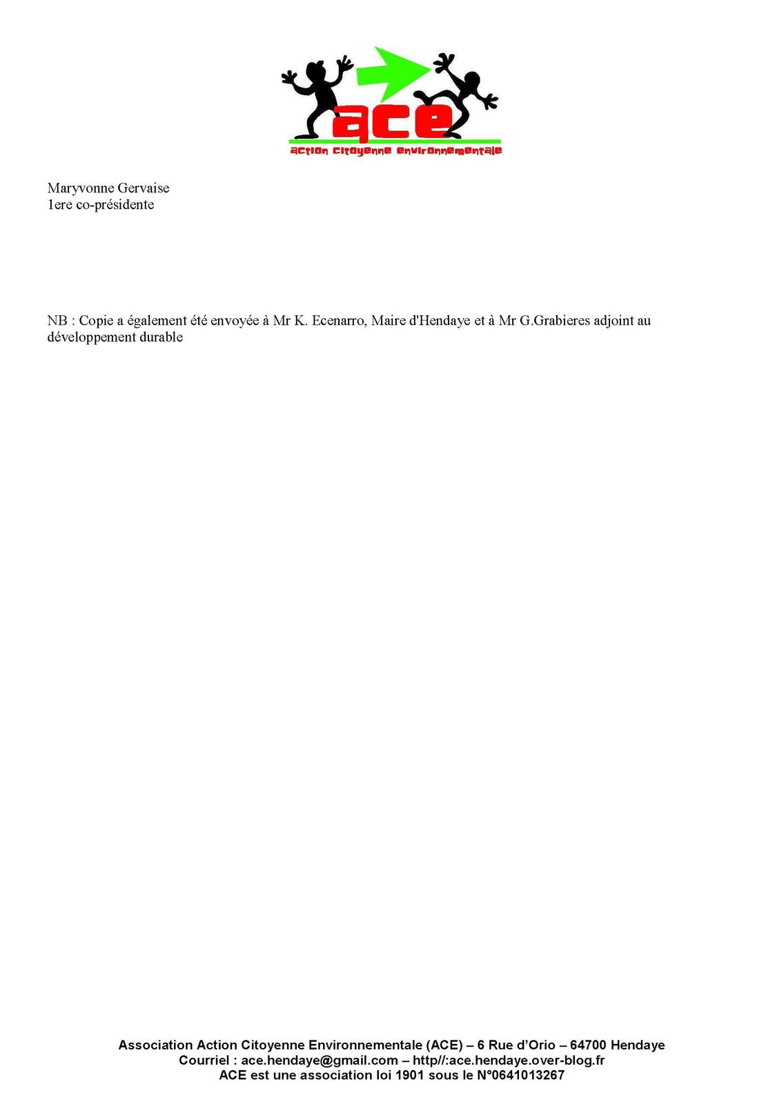 ACE alertée par la présence de rejets inquiétants dans la bidassoa écrit à la Police de l'eau et en informe la Mairie