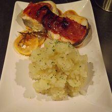 Cabillaud en écailles de chorizo, écrasé de pommes de terre au citron