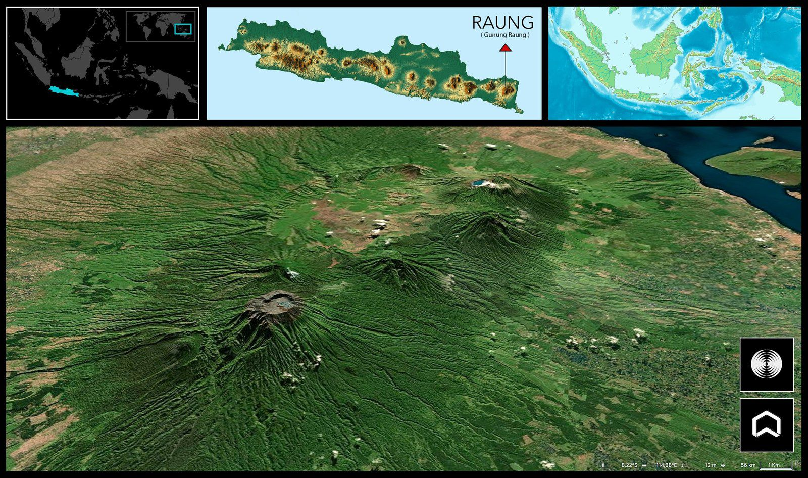 Raung - location and 3D modeling - From left to right: Raung and Suket, then on the SE edge of the Kendeng caldera, Jampit, Ranteh and Merapi / Kawah ijen - Doc. nodo20chile - one click to enlarge