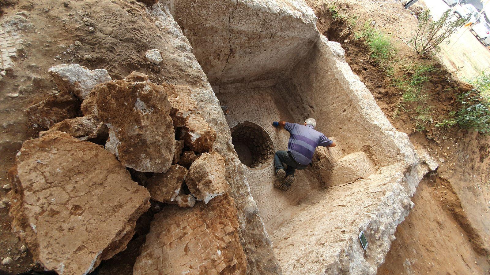 Le pressoir à vin datant de l'époque bzantine - Crédit photo : Yoli Schwartz/ Israel Antiquities Authority