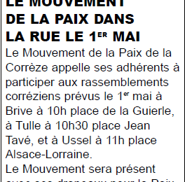 Retour sur la participation du Mouvement de la Paix de Corrèze aux rassemblements du 1er mai
