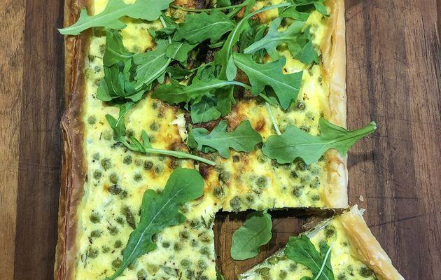 tarte légère aux petits pois, fromage et menthe