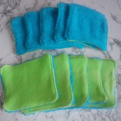 Lingettes lavables carrées bi-face
