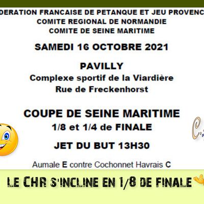 8ème de finale, Coupe 76 à Pavilly, samedi 16 octobre 2021