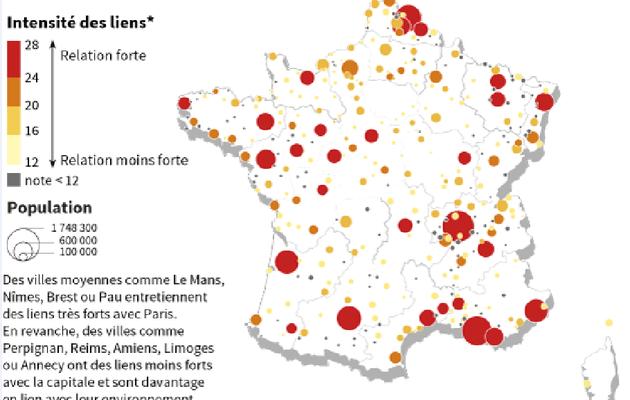 Les relations de l'aire urbaine de Paris avec les autres aires_deux images très parlantes