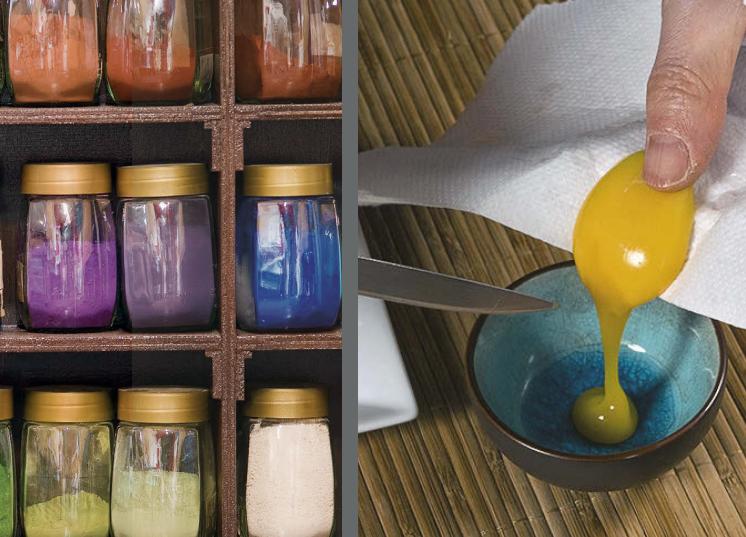 petites astuces: pigments en vrac au Moulin à couleurs d'Ecordal //  pensez à bien enlever la membrane du jaune d'oeuf