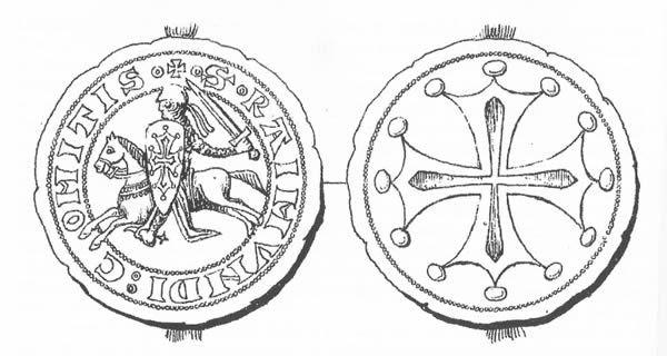 Raimond VI dans la salle des Illustres du Capitole de Toulouse (XIXe siècle) - La bulle de Raimond V en 1180 (dessin de L. Macé)