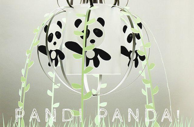 Suspension chambre bébé : Mobile Panda gris et vert d'eau