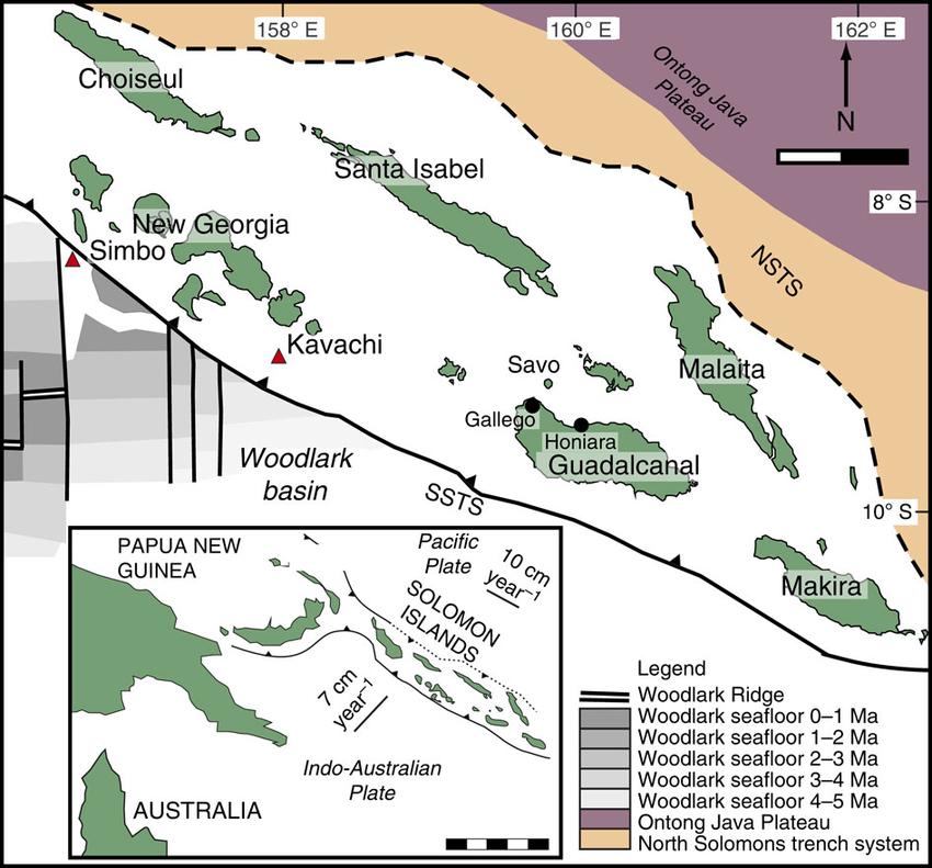 Carte des îles Salomon, avec les principales caractéristiques tectoniques et laposition des volcans Kavachi et Simbo – Doc. Research gate