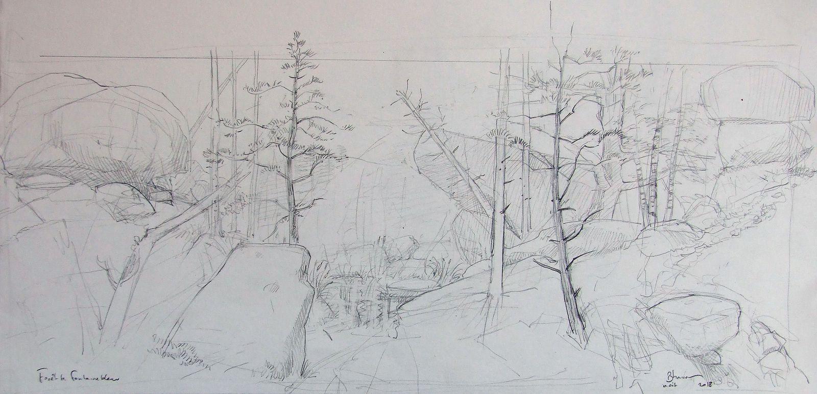 """Les trois premières études pour """"La forêt de Fontainebleau"""" Crayon et aquarelle 18x41 Bhavsar"""
