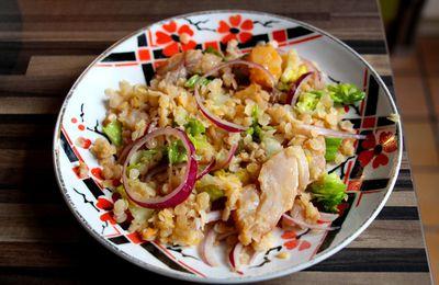 Salade de lentilles corail , haddock fumé et oignon rouge
