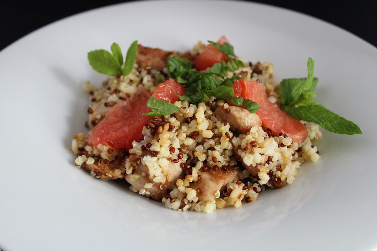 Trio de quinoa et boulgour au poulet