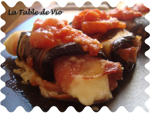 Petits roulés d'aubergine à la mozzarella