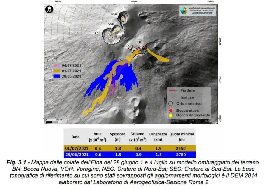 Carte des coulées de l'Etna du 28 juin au 1er et 4 juillet sur un modèle ombré du terrain. BN : Bocca Nuova, VOR : Voragine ; NEC: cratère nord-est; SEC: cratère sud-est. La base la référence topographique sur laquelle les mises à jour morphologiques ont été superposées est DEM 2014 élaboré par le Laboratoire d'Aérogéophysique-Section Rome 2 / via INGV OE - un clic pour agrandir