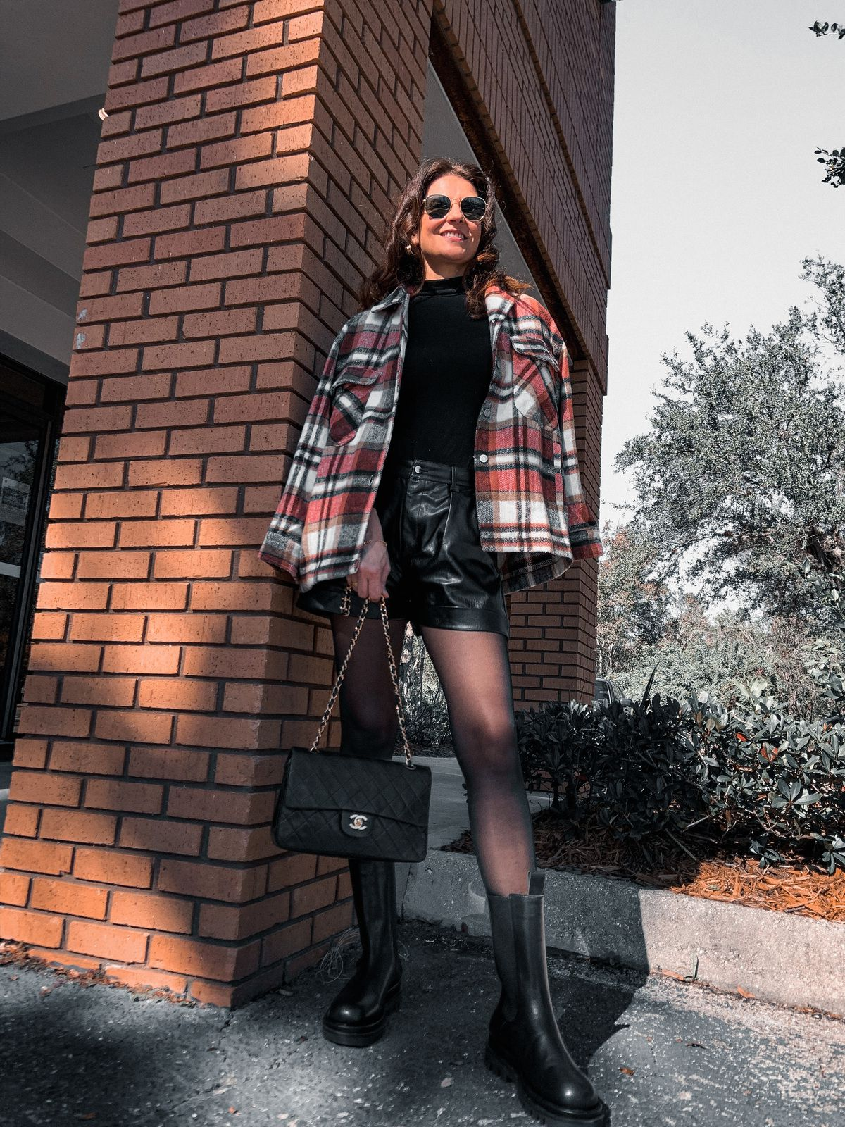 Plaid Jacket with faux leather shorts