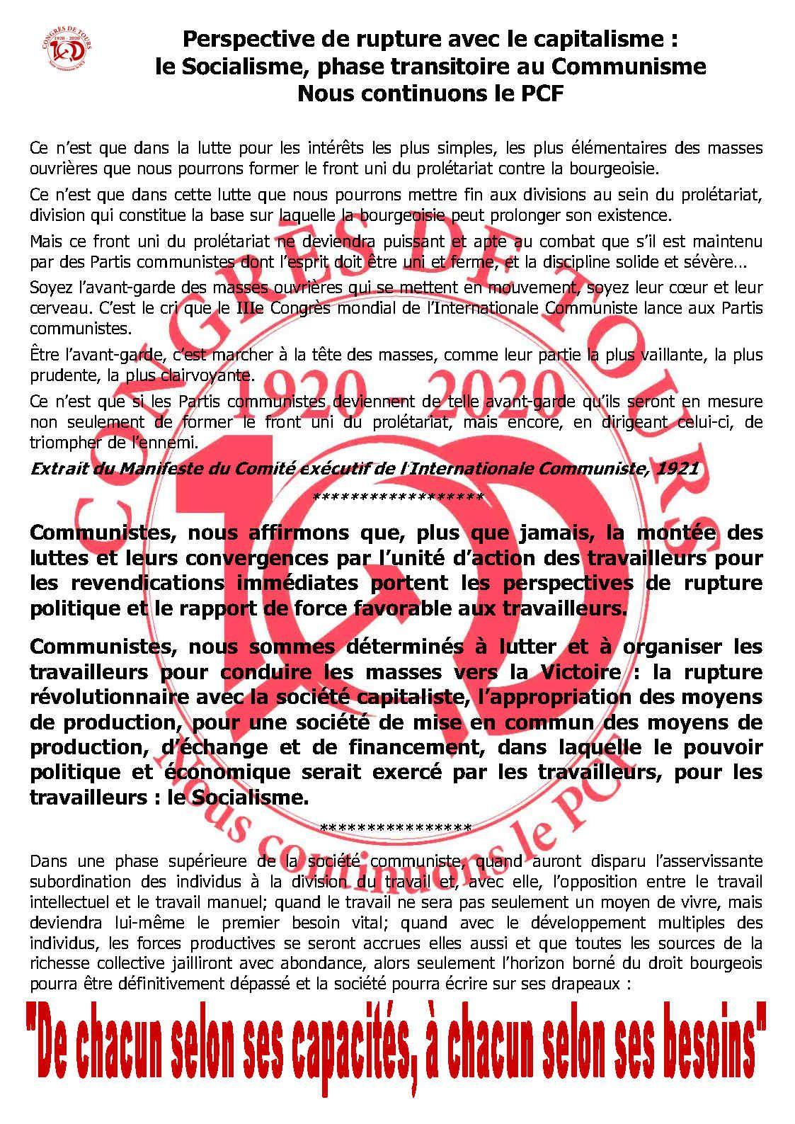 1920 - 2020. Congrès de Tours. 100 ans de lutte anticapitaliste - 21