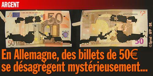 En Allemagne, des billets de 50€ se désagrègent mystérieusement...