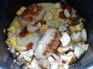 Paupiettes de veau aux topinambours, boule d'or et champignons cuisinés