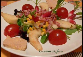 salade poires, radis, lardons aromatisé au vinaigre de poire