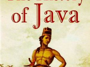 "Portrait of Sir Thomas Stamford and cover of his book ""The history of Java"" - a click to open"