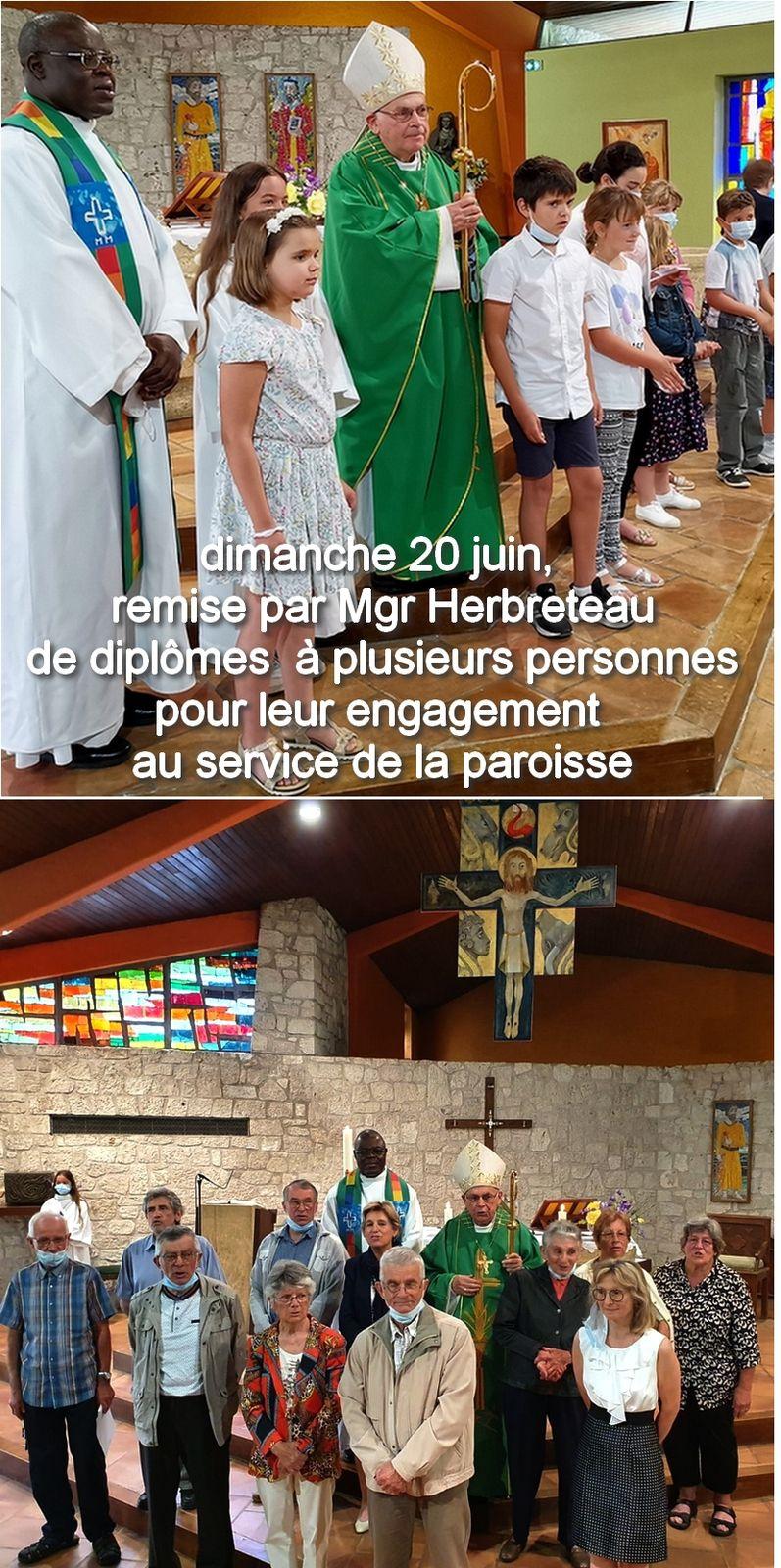 dimanche 20 juin 2021, visite de Mgr HERBRETEAU EST VENU TÉMOIGNER DE LA RECONNAISSANCE DIOCÉSAINE....