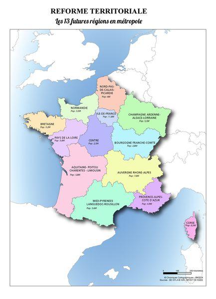 Carte des futures régions françaises