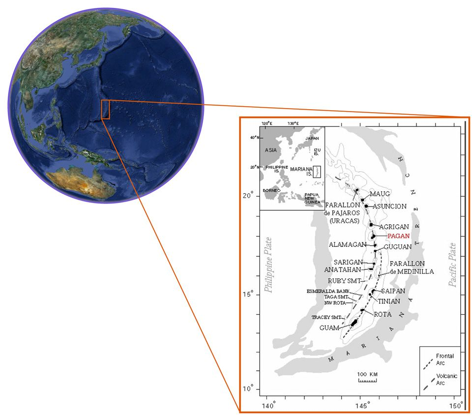 Location of Pagan in the volcanic arc of the Marianas - Doc. GVP