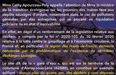 Dépôts sauvages à la gare d'eau d'Annay-sous-Lens : question écrite de Cathy Apourceau-Poly à la ministre de la transition écologique