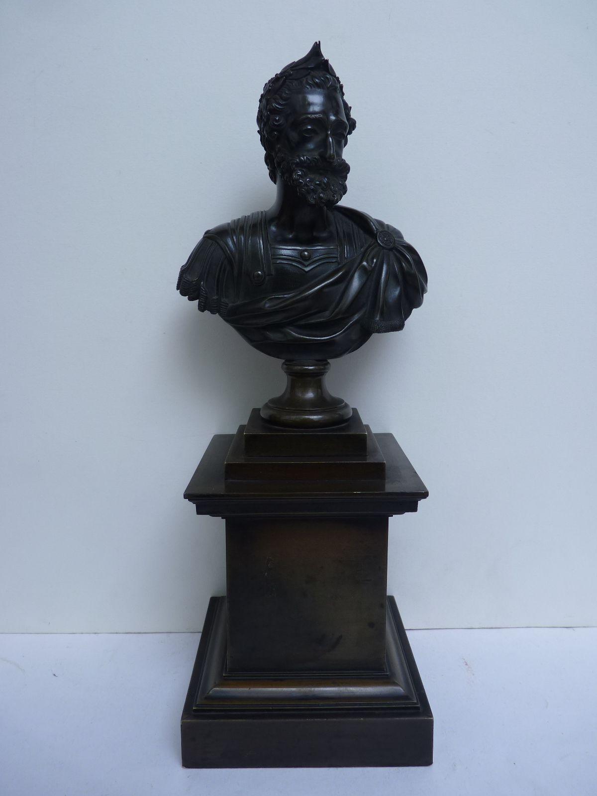 Henri IV en Empereur Romain, Buste en Bronze, Epoque Restauration