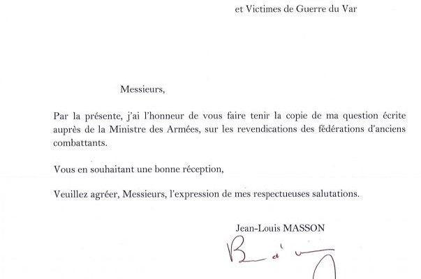 Courrier de Mr Jean-Louis Masson député du Varaux fédérations et associations d'anciens combattants et victimes de guerre du Var