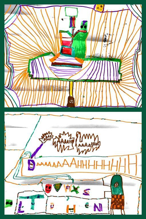 Les réalisations de TonMoutard : du dessin 2D mais du dessin qui prend vie en 3D aussi, des livres entiers parfois façon BD ou magazine, des licornes (grand amour du moment), jeu de société (où il est question de lancer de dé, de choisir son véhicle et d'aller au sauvetage des abeilles ... une idée que j'aodre, à recycler), sans oublier des montagnes de réalisations en légos bien sûr, etc ... bref, une créativité sans bornes !