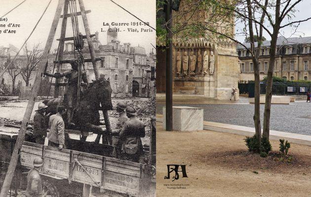 Désinstallation de la statue de Jeanne d'Arc sur le parvis de la Cathédrale.