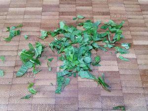 2 - Disposer la composition sur une jolie assiette à dessert. Verser dans les cavités des cubes de pastèque le coulis de mangue (ou de fruits rouges selon vos préférences). Réserver au frais. Ciseler quelques feuilles de verveine fraîche.