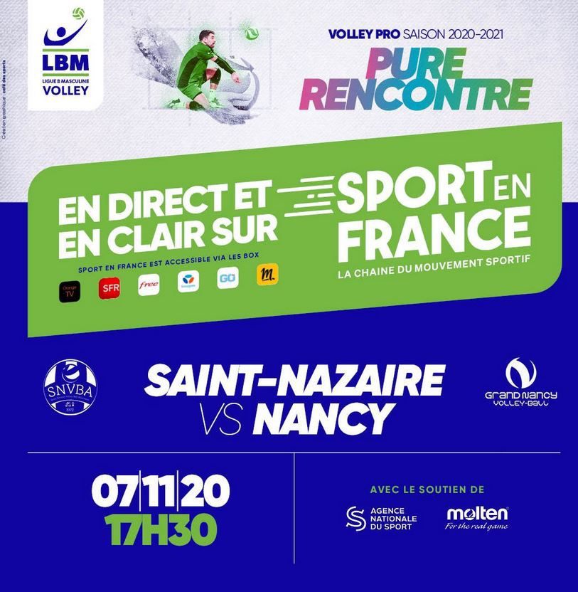Saint Nazaire / Nancy (Volley Ligue B) en direct ce samedi sur Sport en France !