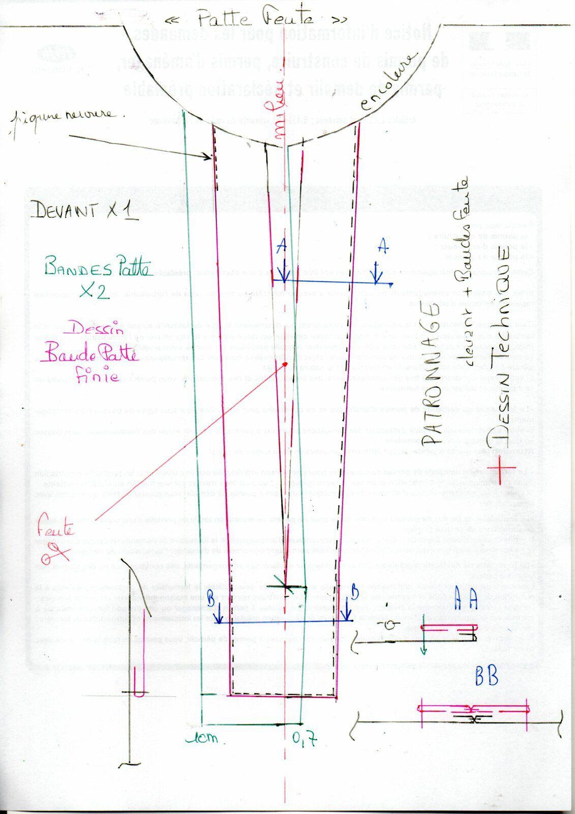 dessin technique et patron PATTE FENTE