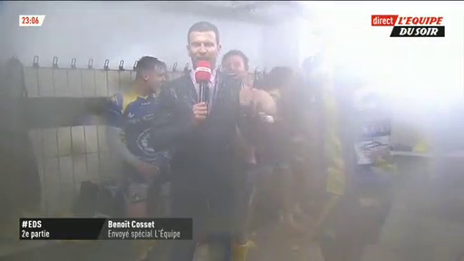 Quand la folie gagne en direct sur la chaîne l'Equipe les vestiaires des rugbymen d'Aubenas