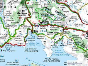 La carte d'époque - Carte Michelin : Delphes et Itéa sur le golf de Corinthe.