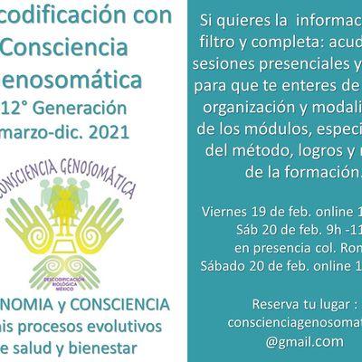 En marzo empezamos un nuevo ciclo 2021 de Descodificación con Consciencia Genosomática. PARA SABERLO TODO: acude a la información en directo, sesión presencial y online este fin de semana.
