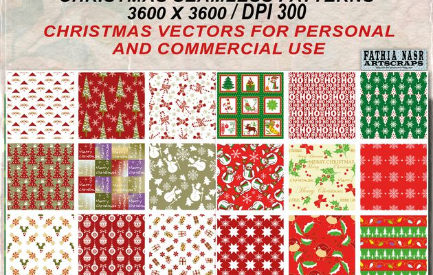 Kit of Christmas Papers - 2 sets with 18 vectors and JPEG Christmas seamless patterns for personal and commercial use