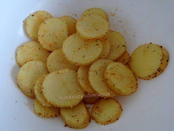 Rondelles de pommes de terre épicées au grill plancha