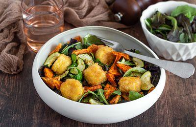 Salade de chèvre chaud à la patate douce et courgette rôties