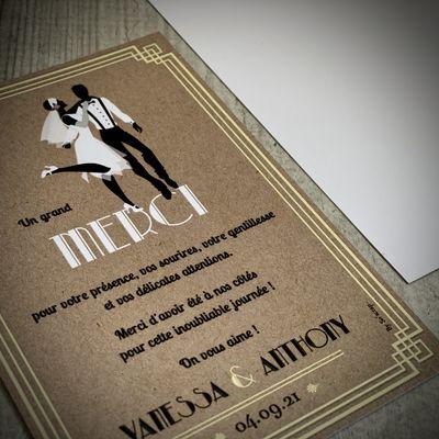 La carte de remerciements mariage thème charleston années folles (30) de Vanessa et Anthony assortie à l'invitation