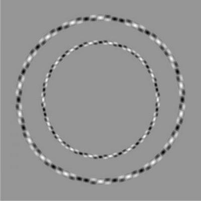 deux cercles concentriques dessinés en torsade blanche et noire