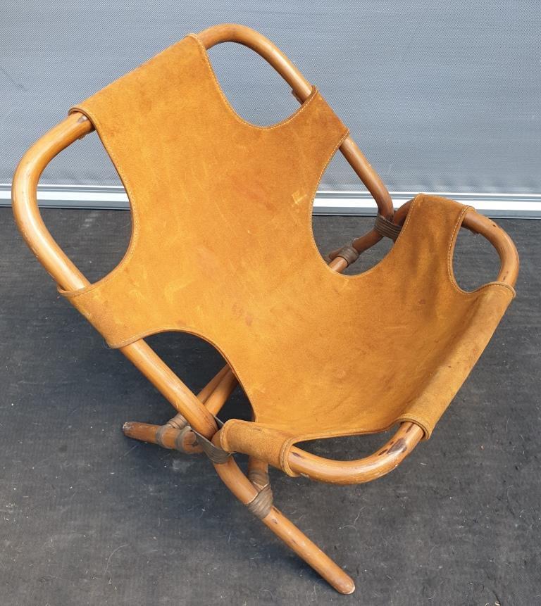 Fauteuil 1960 Rohe Noordwolde  bambou et cuir suède - 350 euros