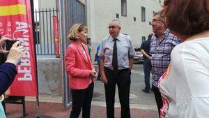 Le maire UMP de Perpignan, visite l'espace Carola, à coté de la place Cassanyes avec la préfète