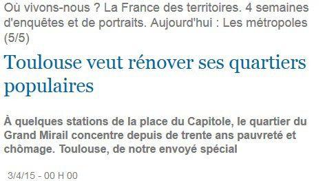Toulouse veut rénover ses quartiers populaires (La Croix)