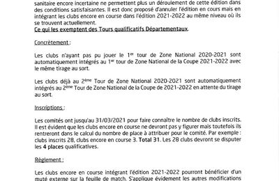 COUPE de FRANCE 2020-2021 et 2021-2022