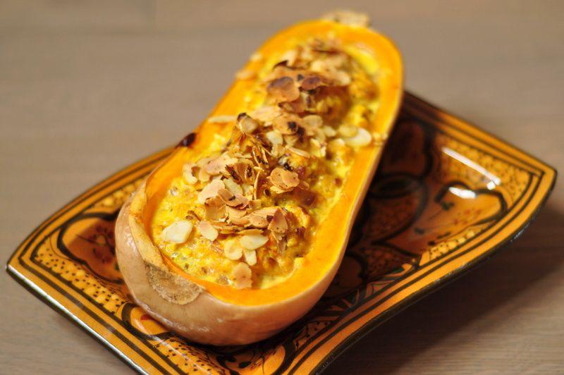 Butternut farcie au paneer, recette végétarienne