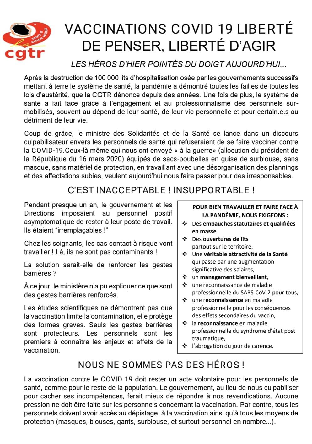 CGTR SANTE - Tract vaccinations Covid 19
